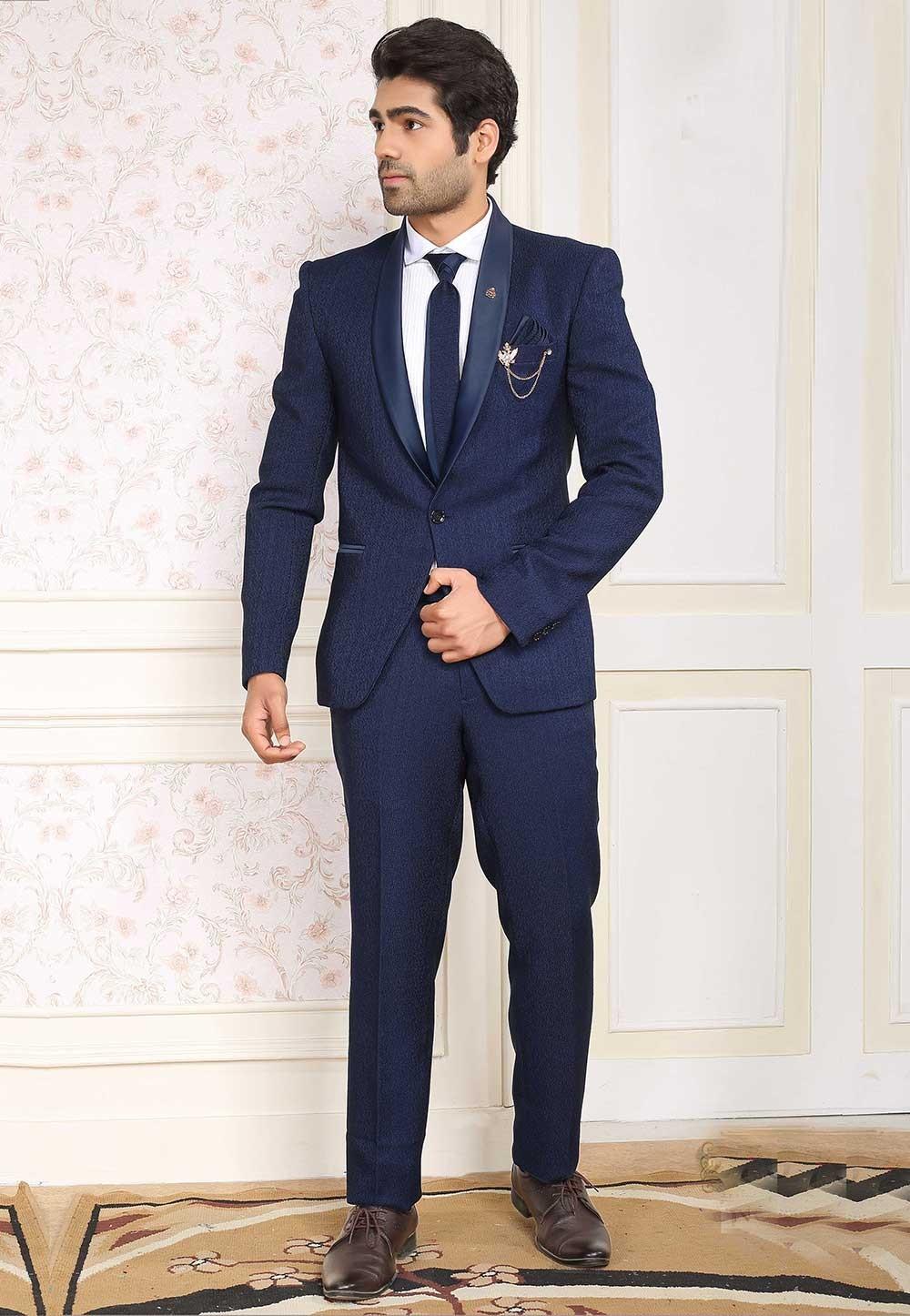Elegant Navy Blue Colour Imported Fabric Designer Suit.