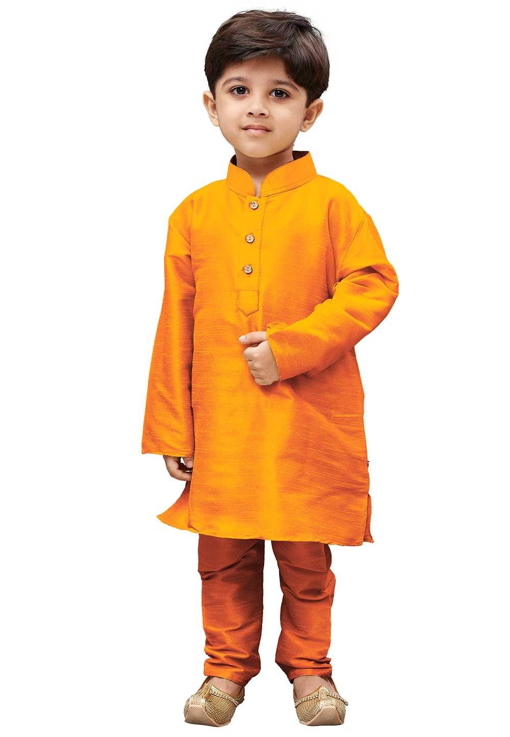 Orange Colour Boy's Traditional Kurta Pajama.