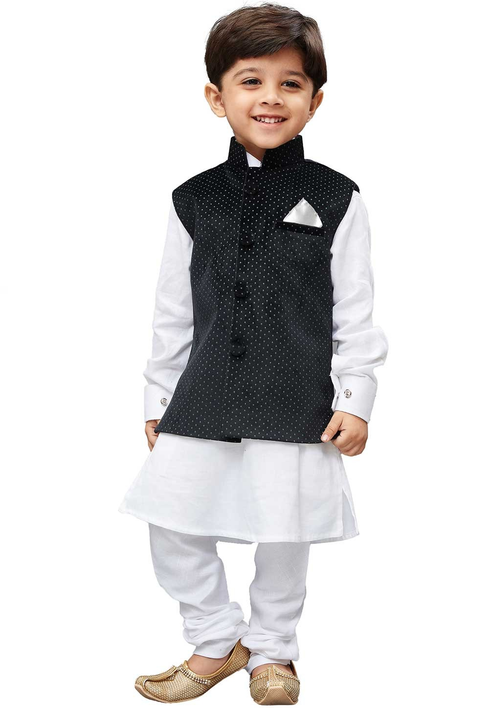 White,Black Colour Boy's Kurta Pajama Jacket.