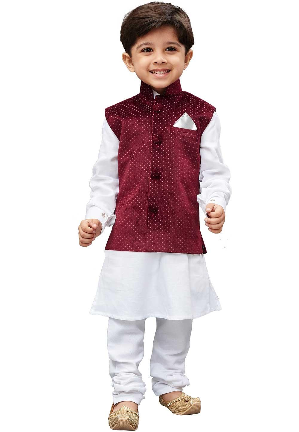White,Maroon Colour Cotton Kurta Pajama.