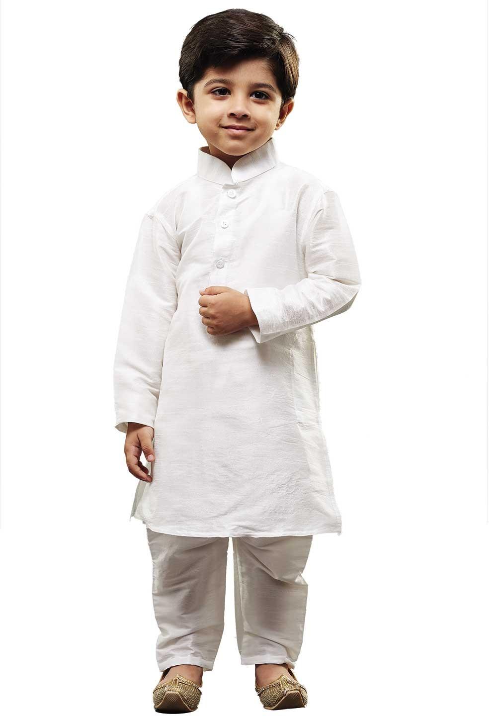 White Colour Boy's Kurta Pajama.