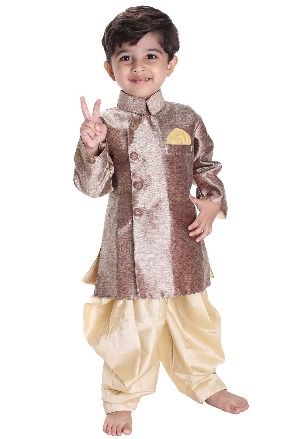 Golden Colour Boy's Kurta Pajama.