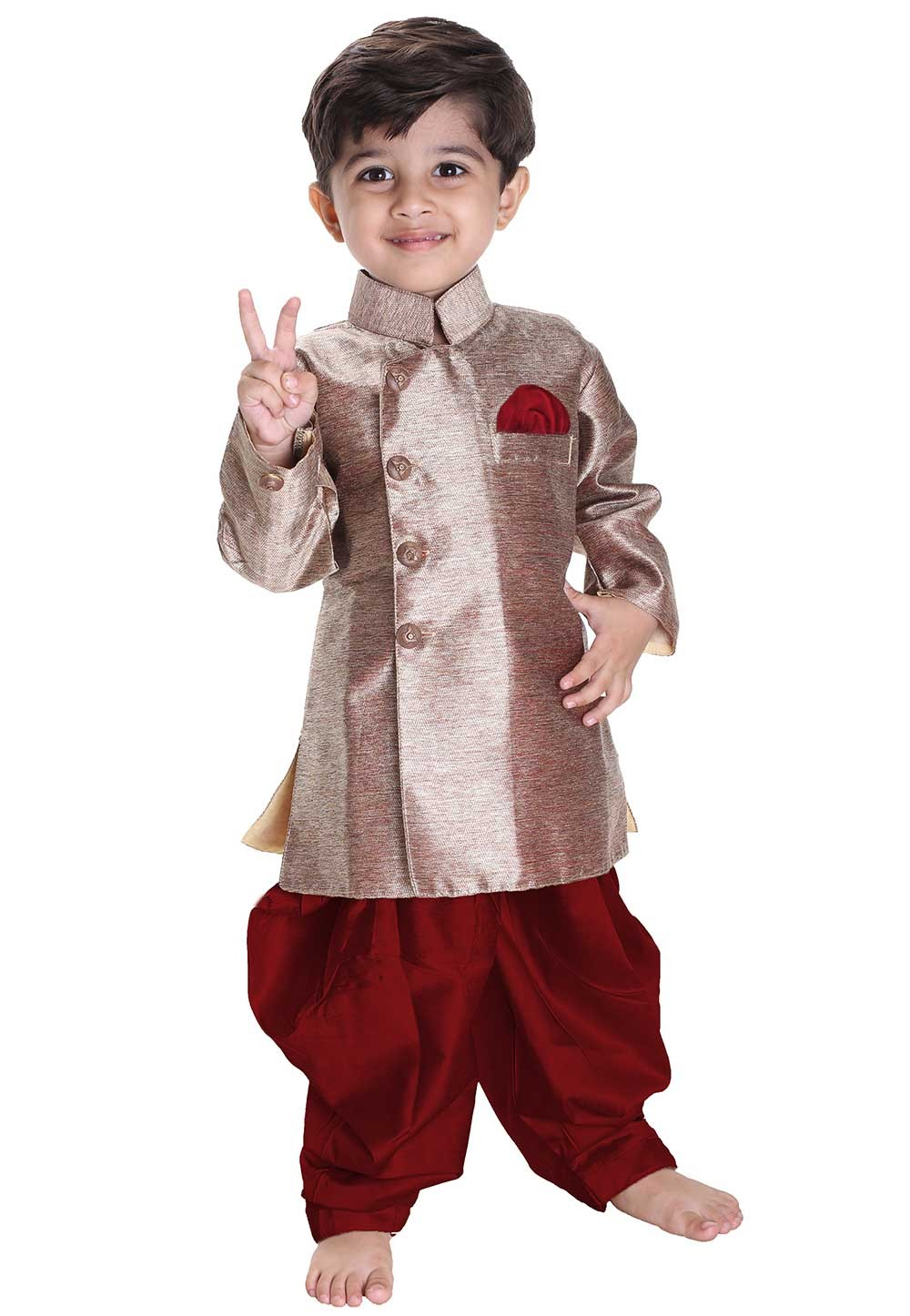 Golden Colour Boy's Readymade Kurta Pajama.