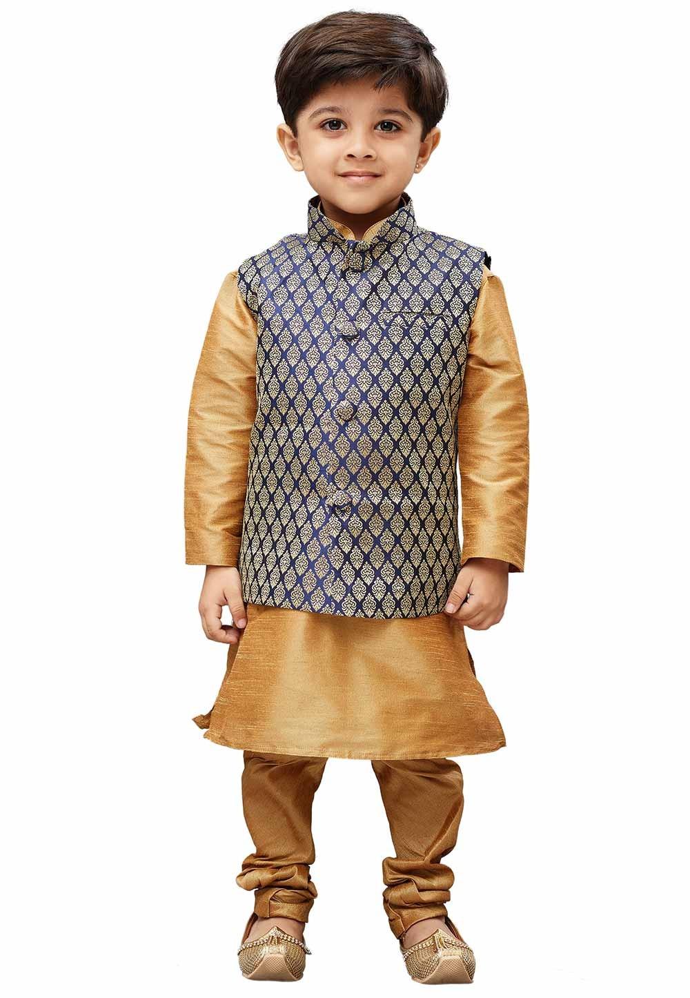 Golden,Blue Colour Boy's Party Wear Kurta Pajama