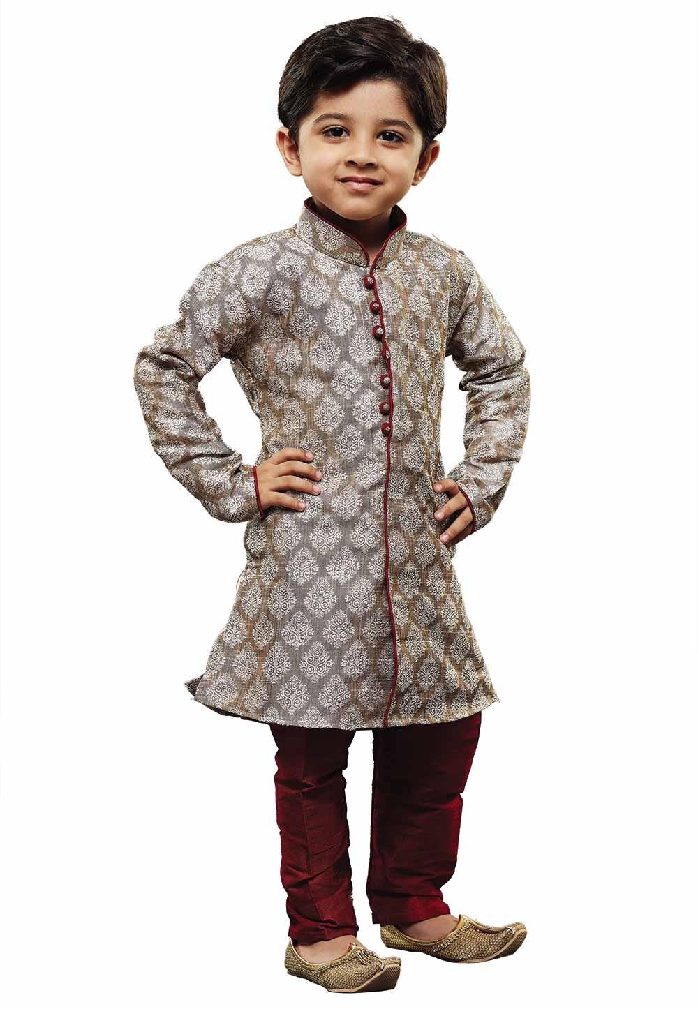 Grey Colour Readymade Kurta Pajama.