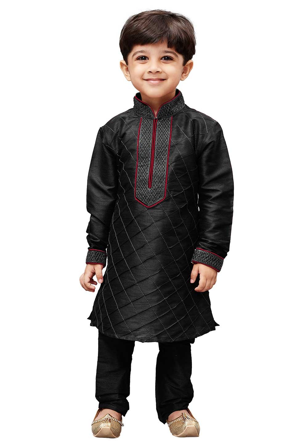 Black Colour Kid's Kurta Pajama.