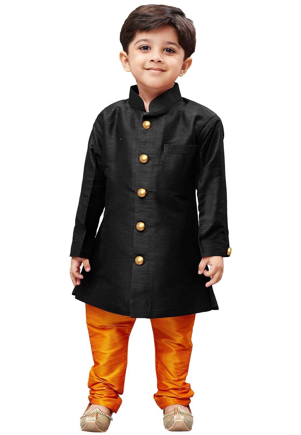 Black Colour Silk Kurta Pajama.