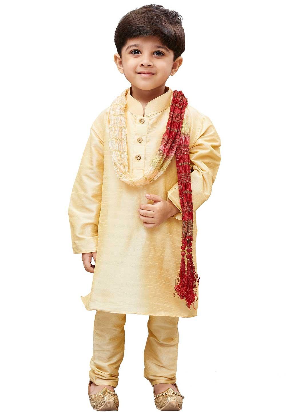 Cream Colour Boy's Kurta Pajama.