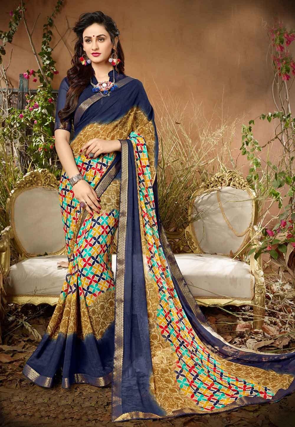 Beige Colour Printed Saree.