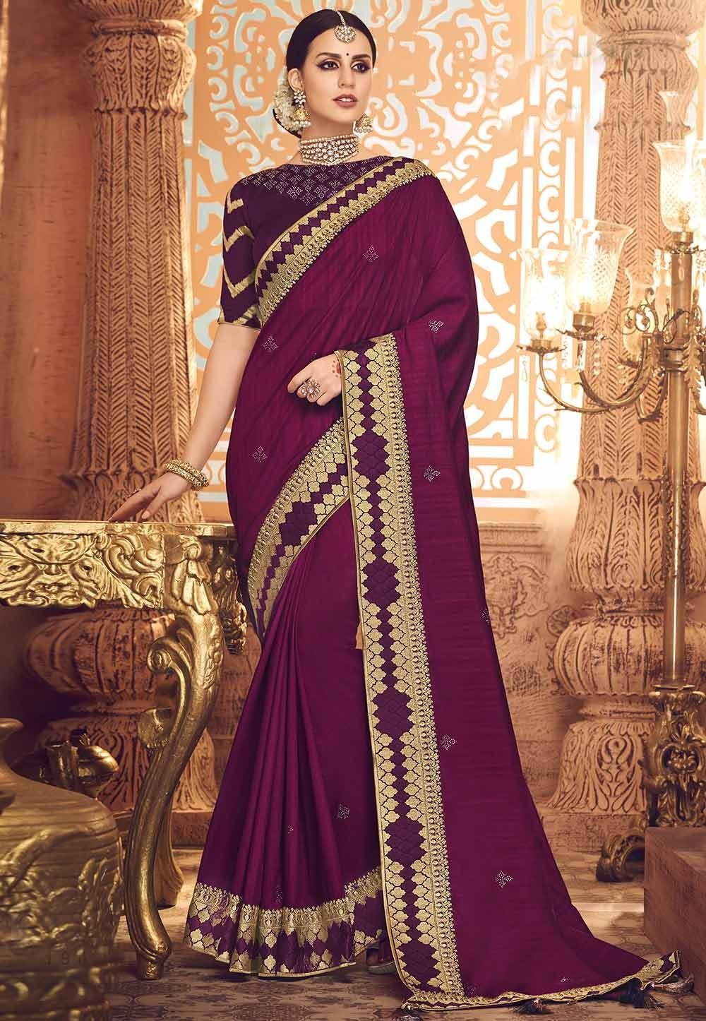 Magenta Party Wear Saree.