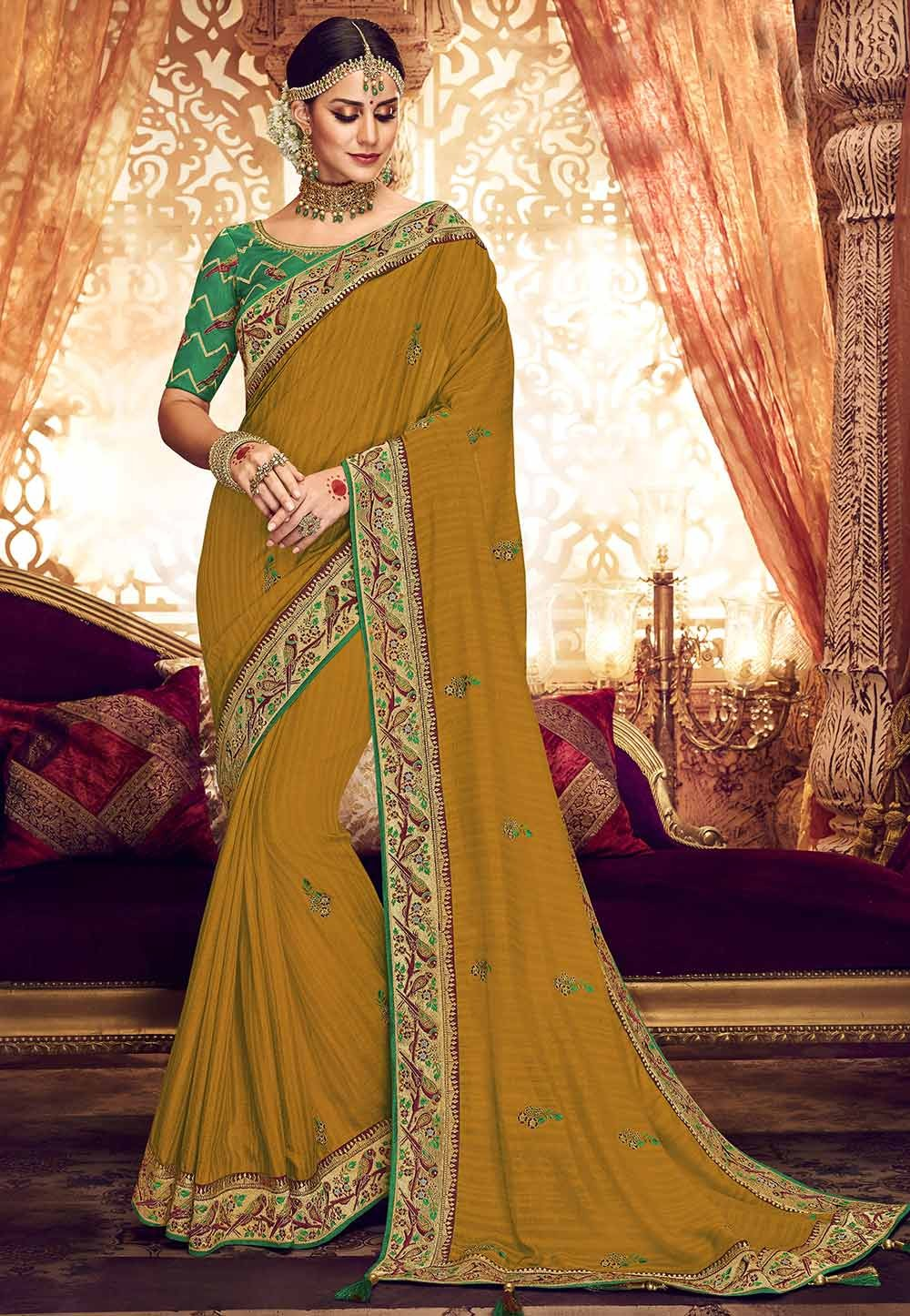 Yellow Colour Indian Wedding Saree.