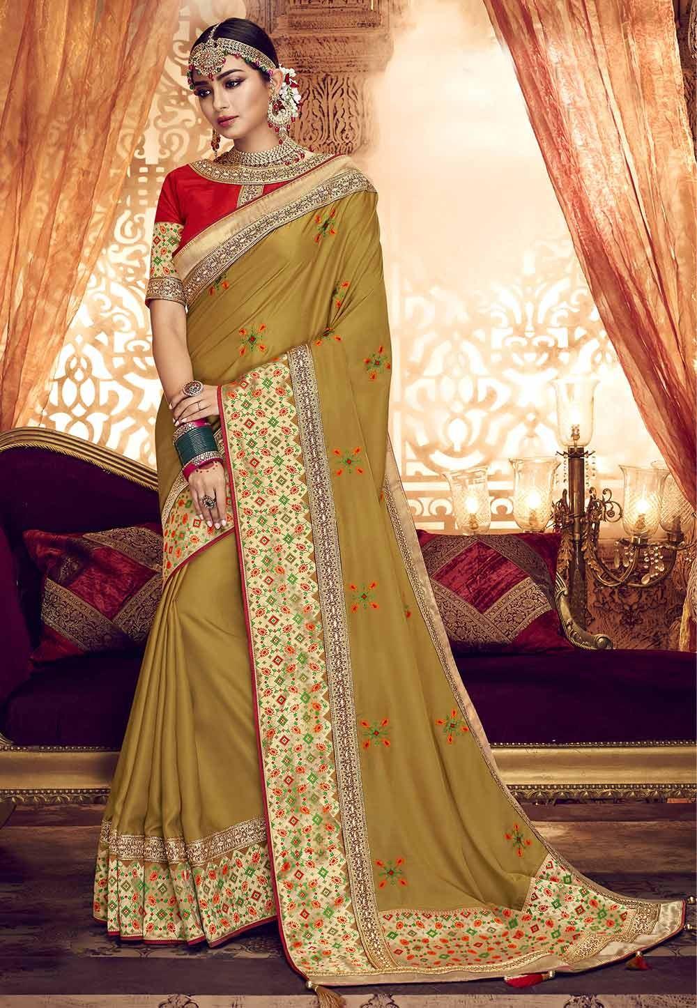 Golden Wedding Saree.