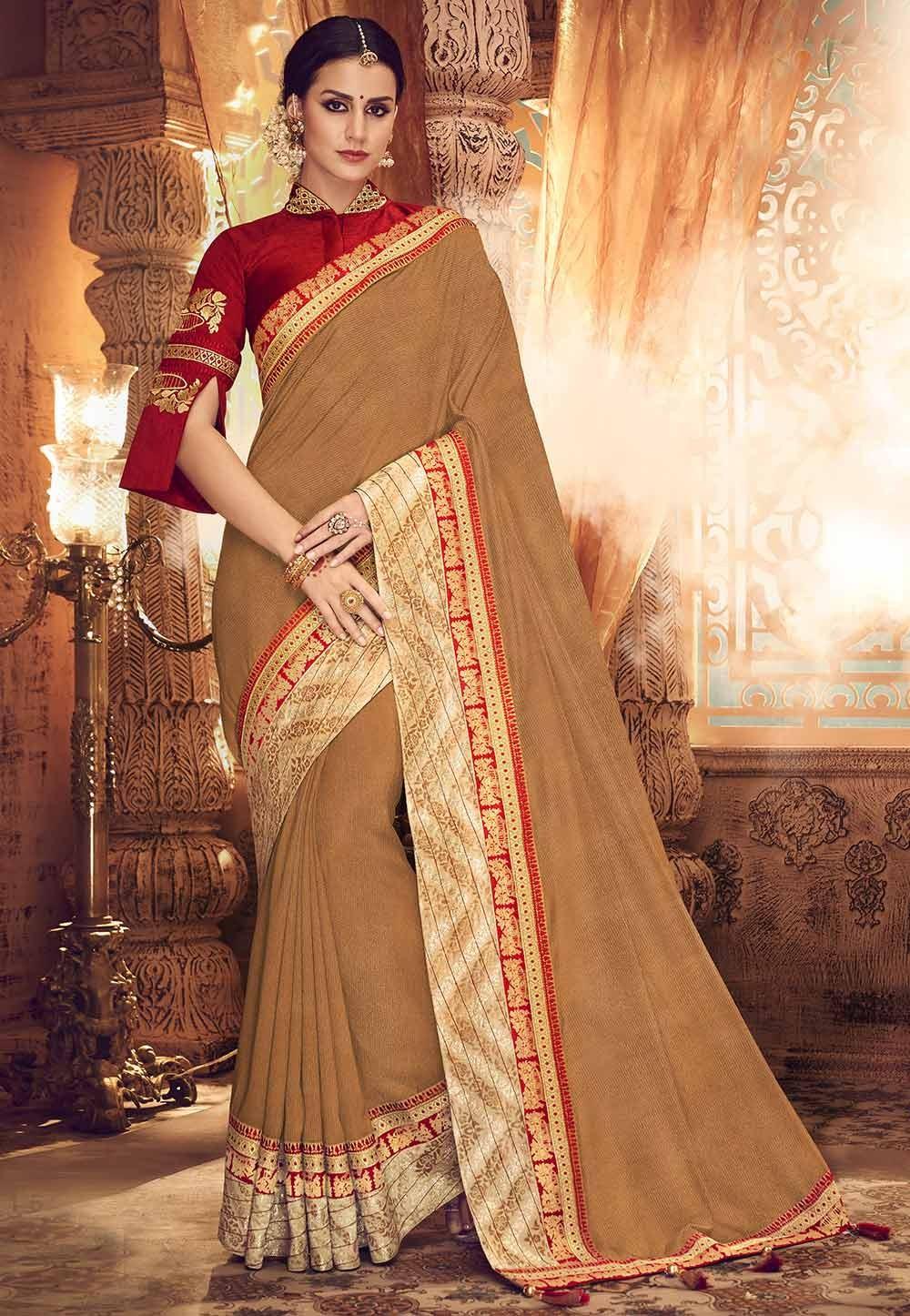 Beige Colour Fancy Saree.