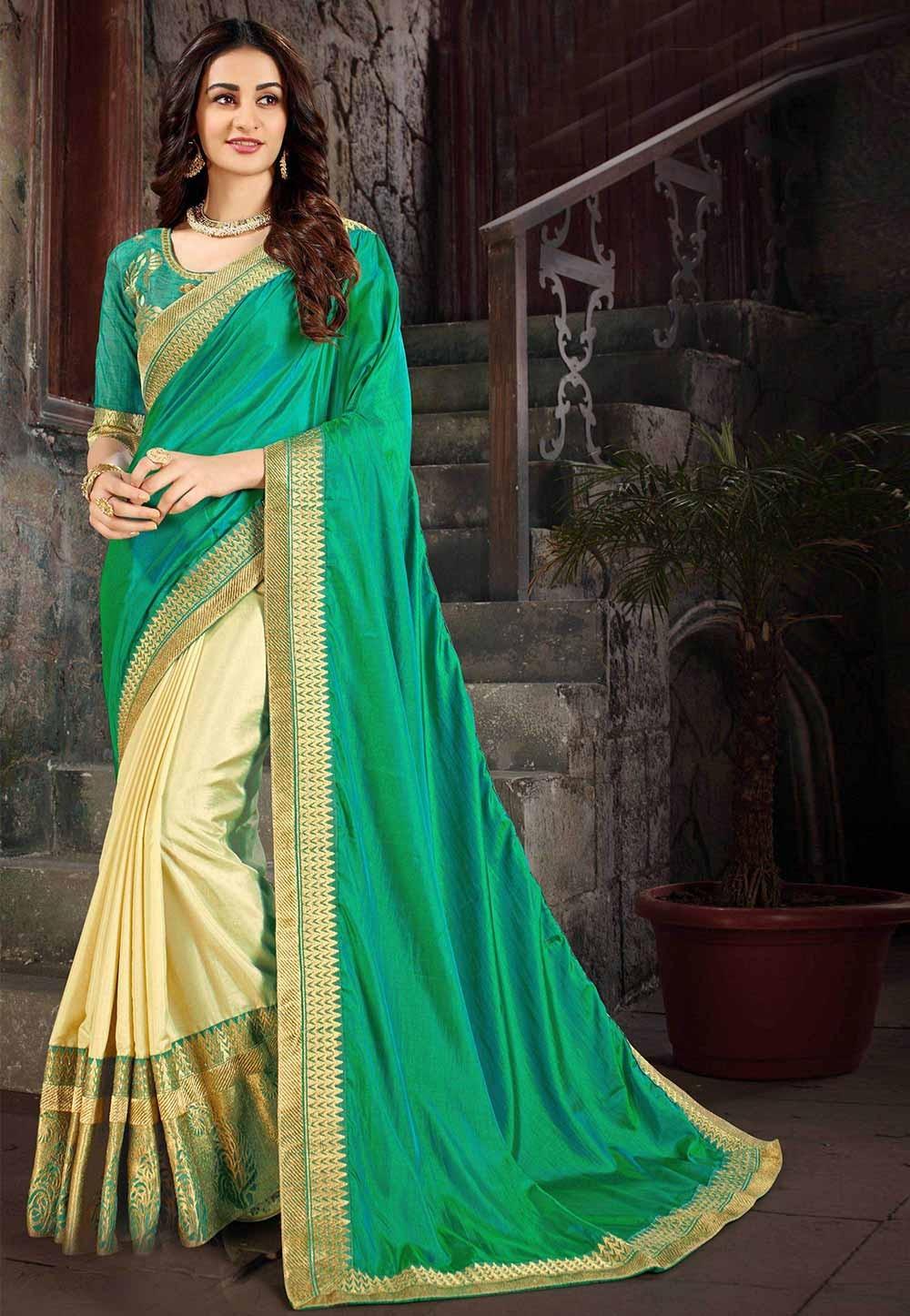 Green,Cream Colour Indian Designer Saree.