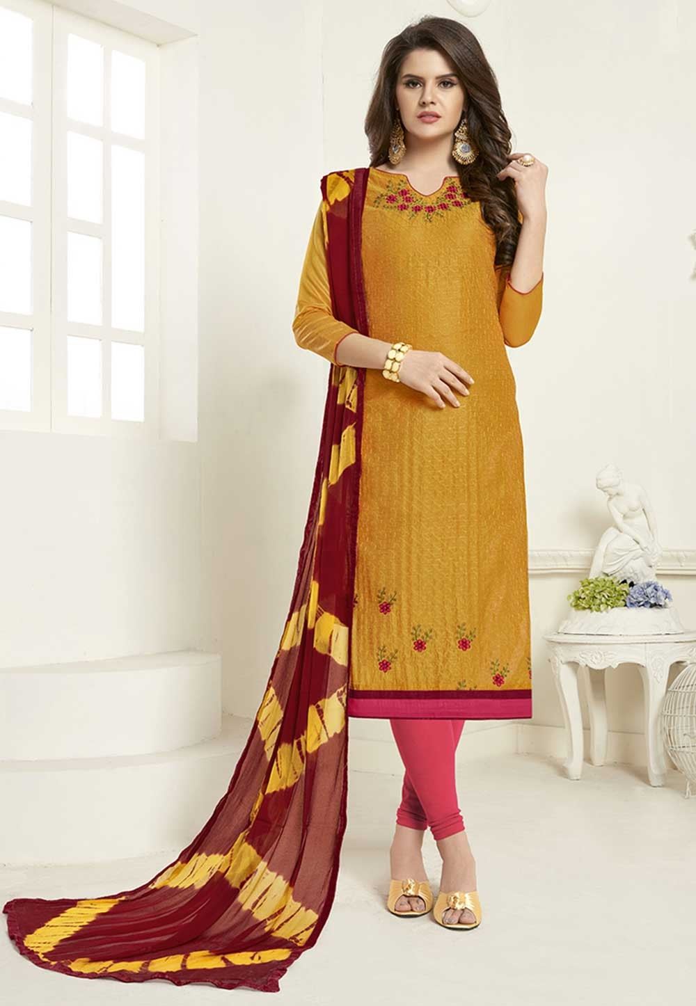 Yellow Party Wear Salwar Suit.