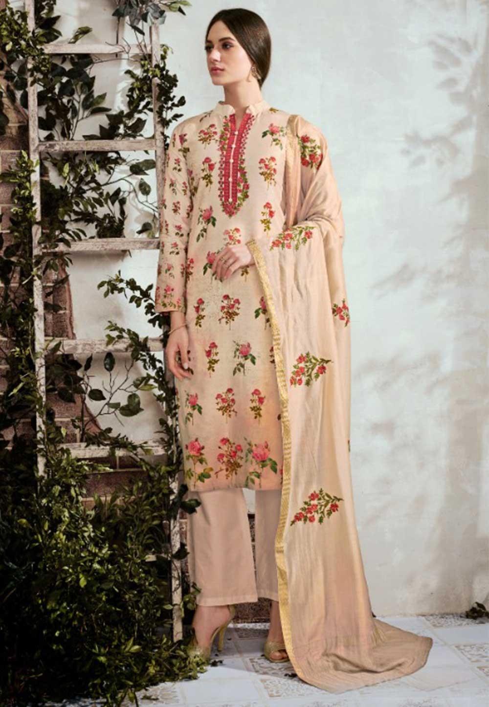 Beige Colour Printed Salwar Suit.,