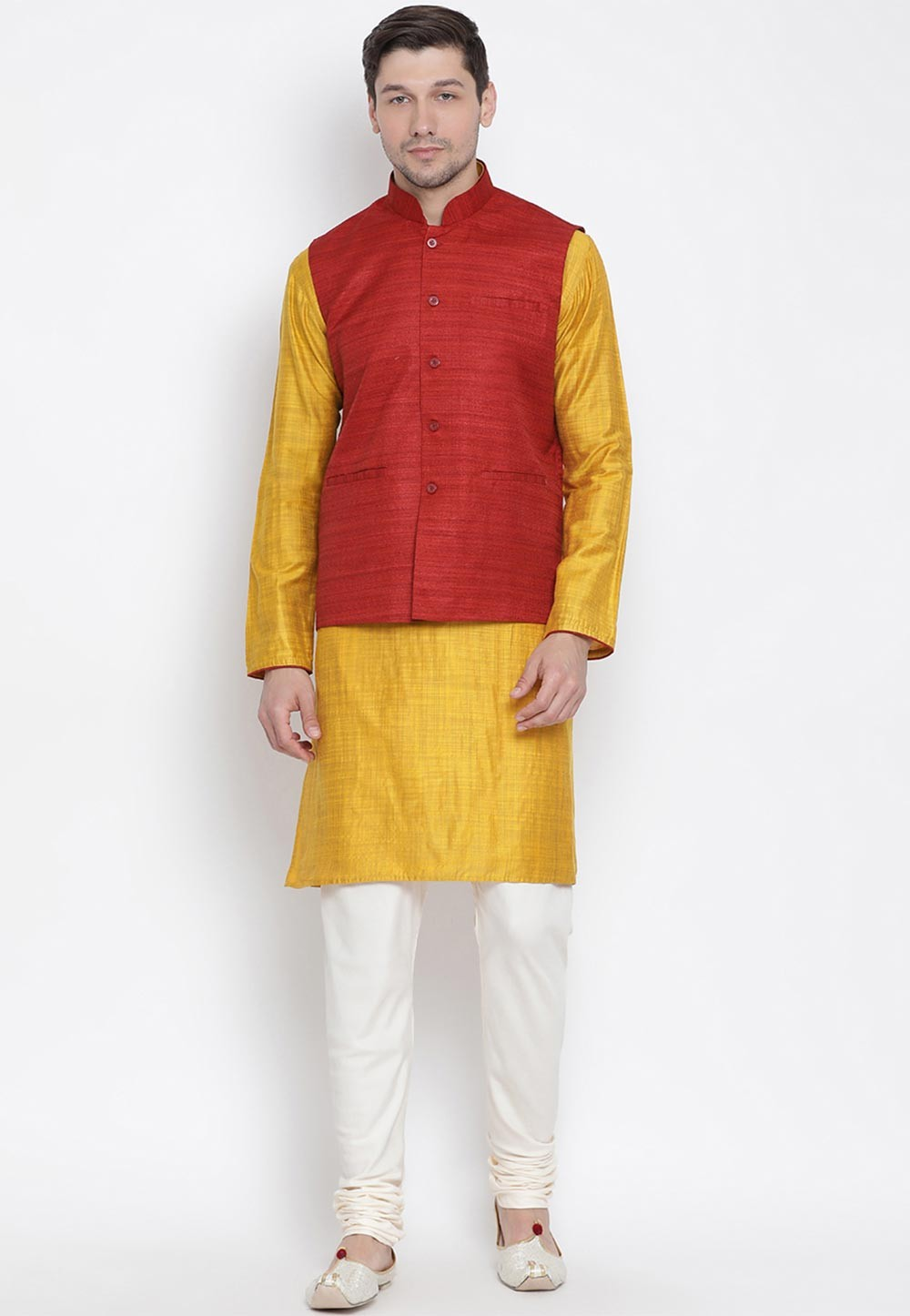 Yellow,Maroon Colour Cotton Kurta Pajama.