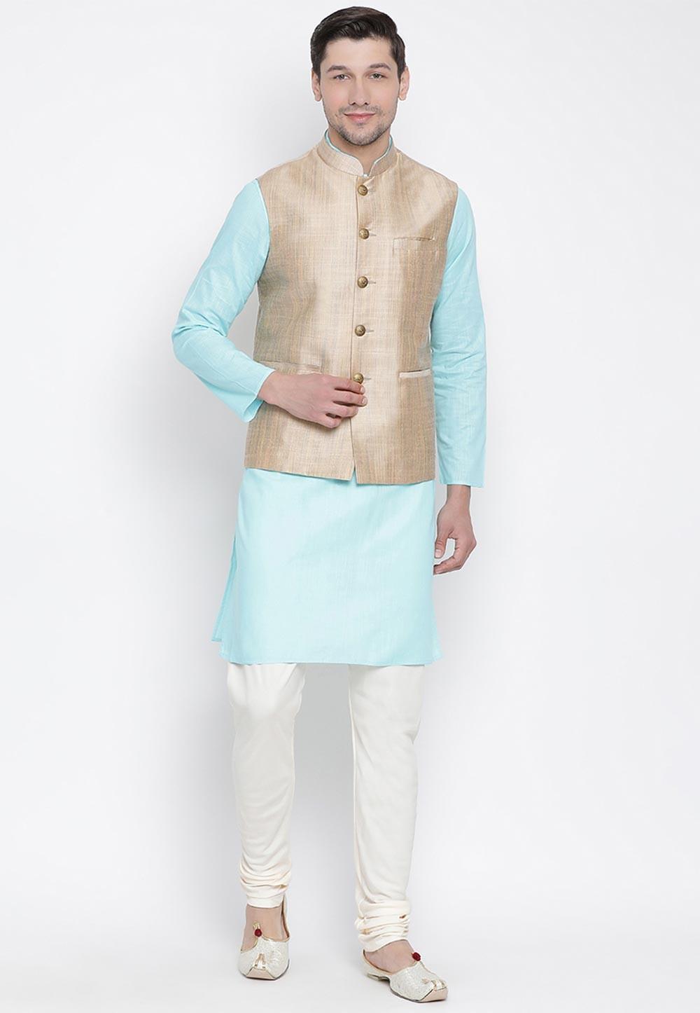 Blue,Beige Colour Readymade Kurta Pajama.