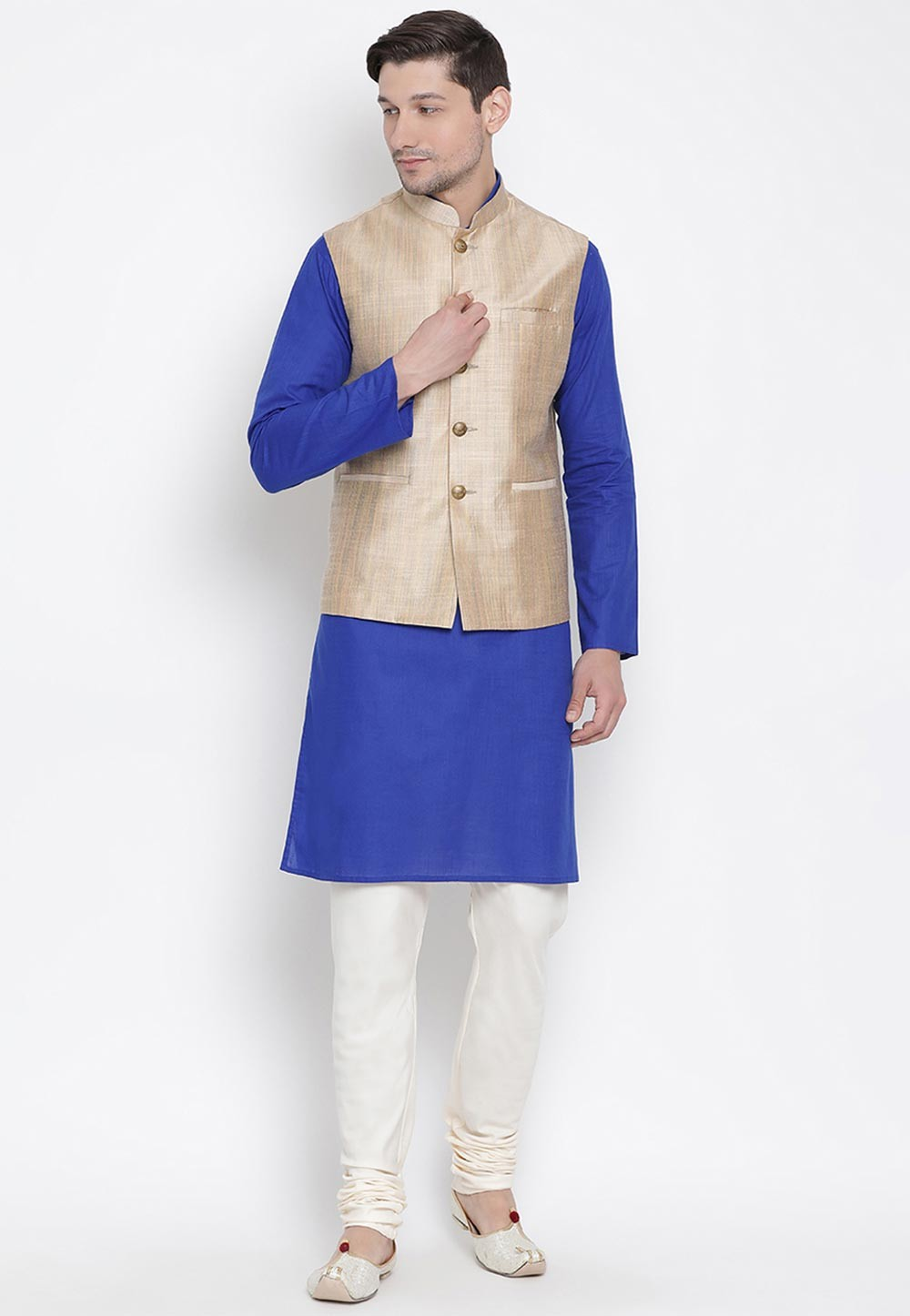 Blue,Beige Colour Cotton Kurta Pajama With Jacket.