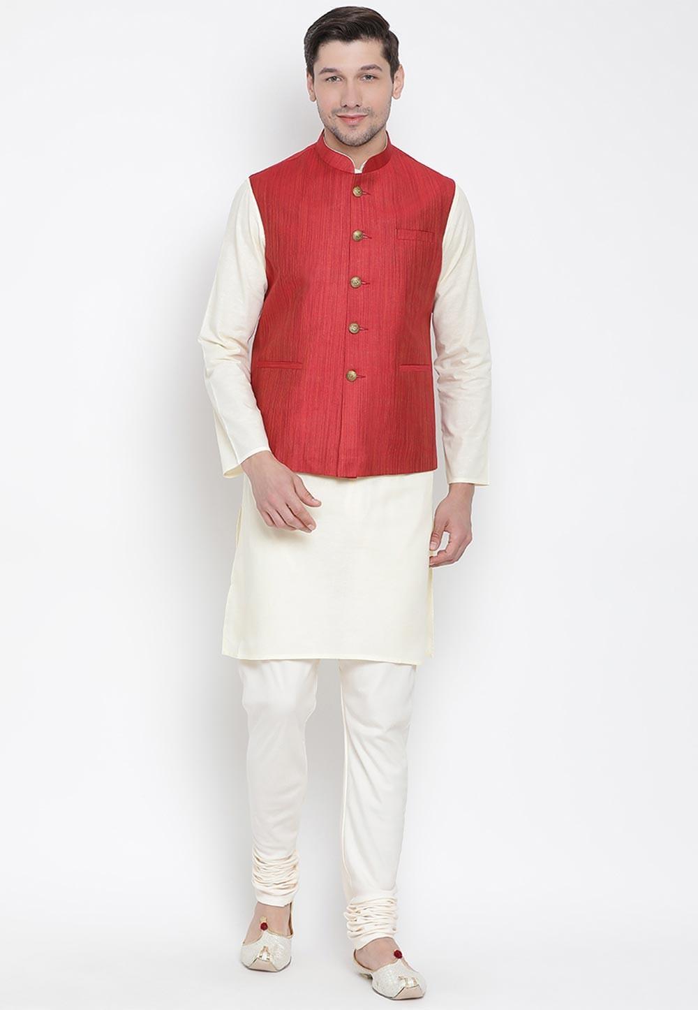 Cream,Red Colour Traditional Kurta Pajama.