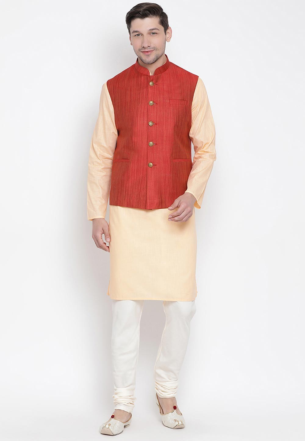 Beige,Maroon Colour Men's Kurta Pyjama.