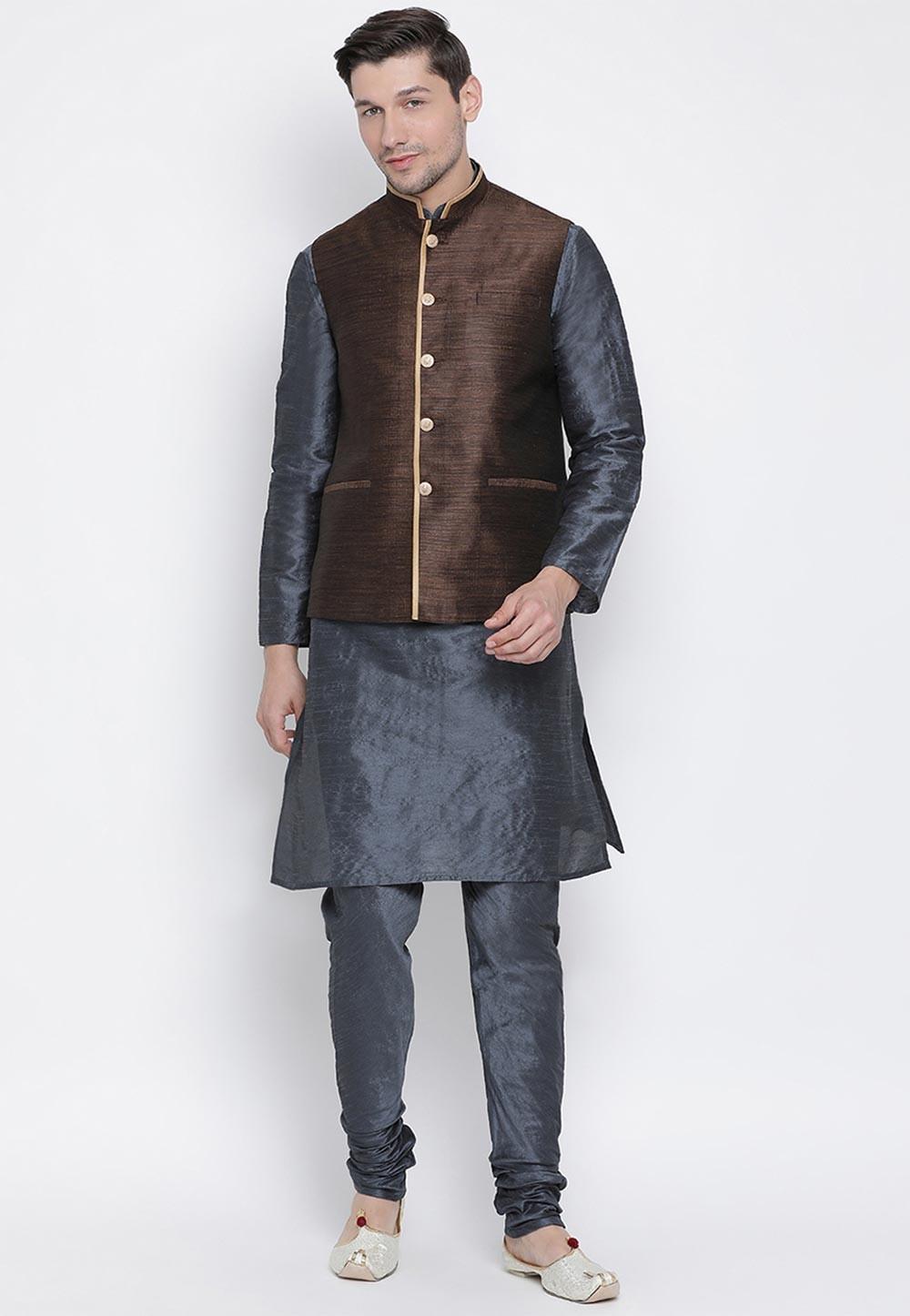 Grey,Brown Colour Cotton Silk Kurta Pajama.