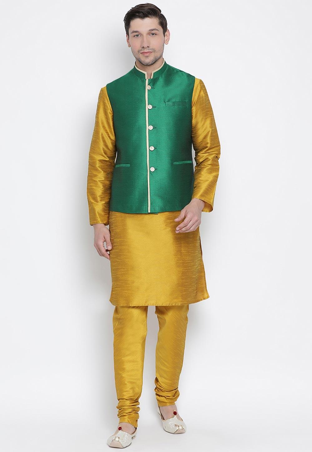 Yellow,Green Cotton Silk Kurta Pajama.