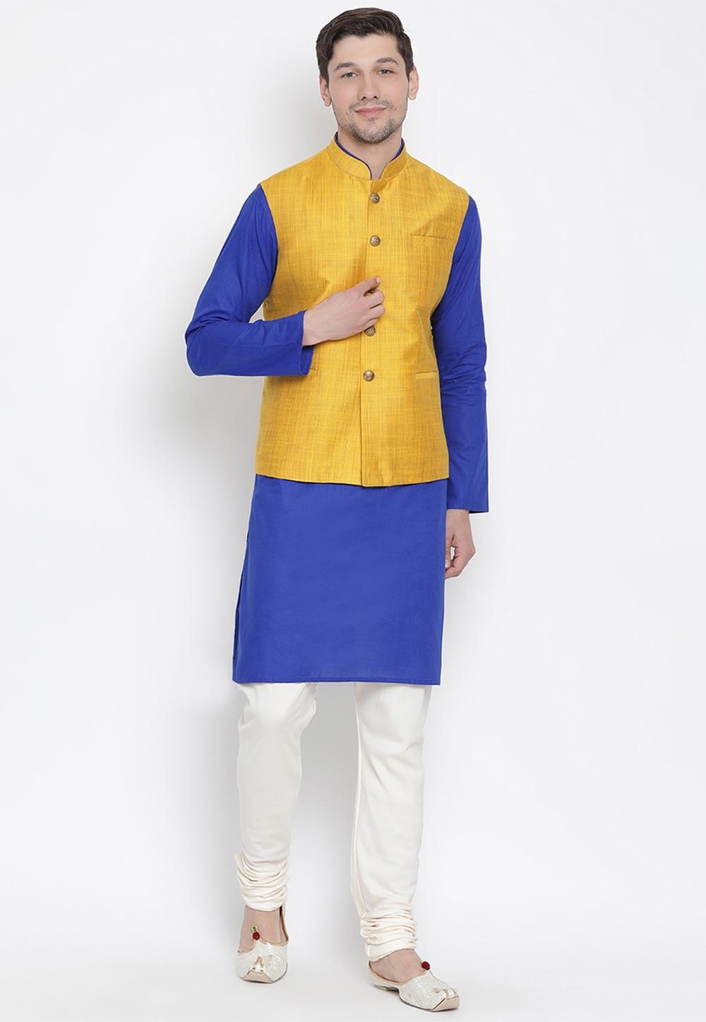 Blue,Yellow Colour Cotton Kurta Pajama.