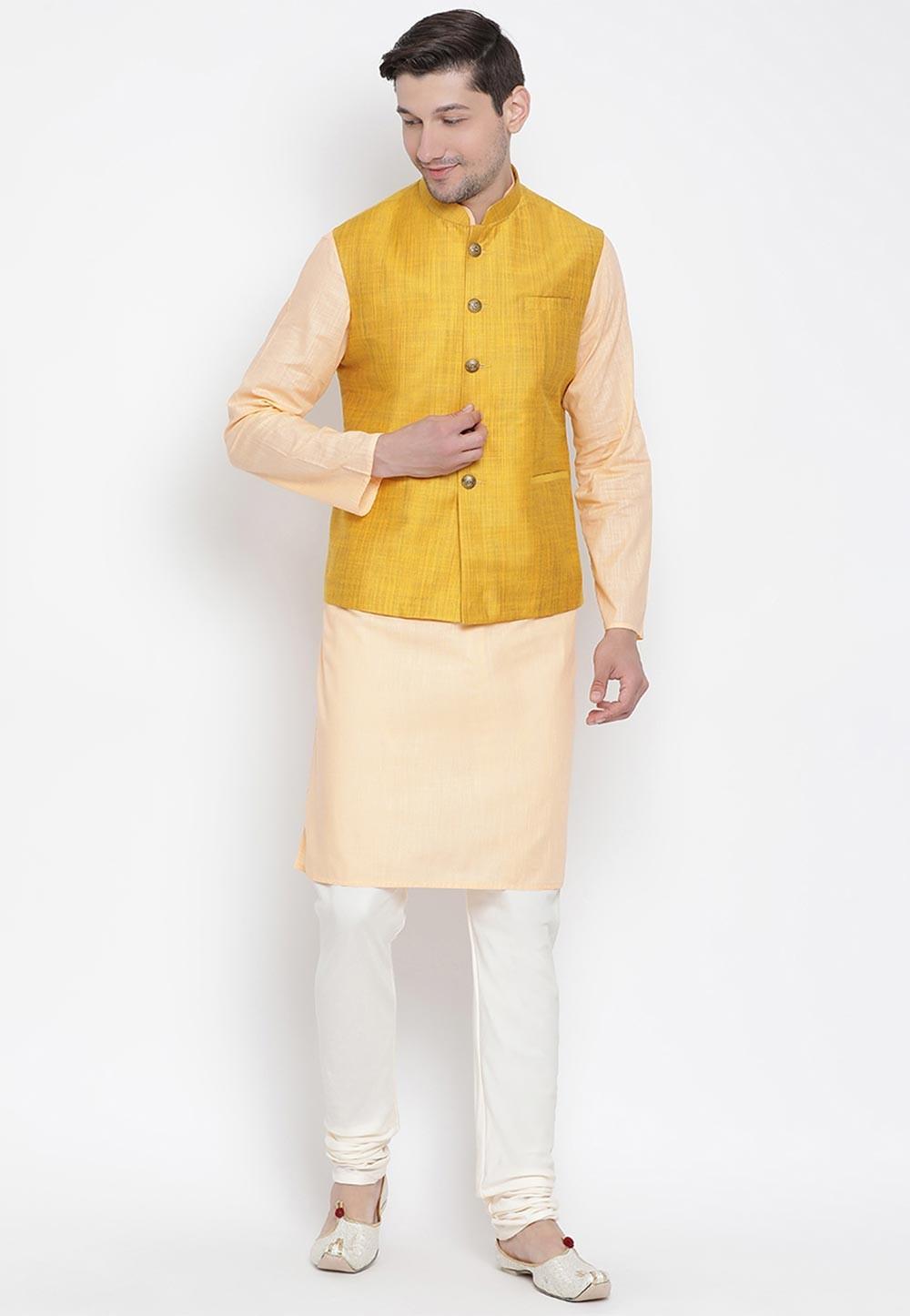 Cream,Yellow Designer Kurta Pajama.