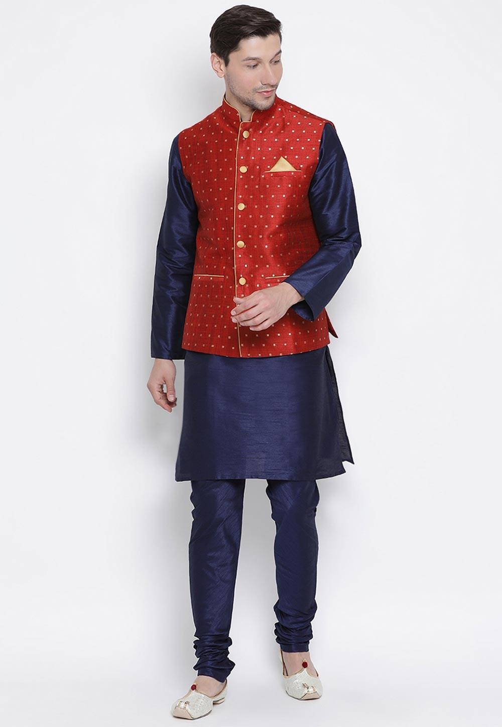 Party Wear Kurta Pajama Maroon,Blue Colour.