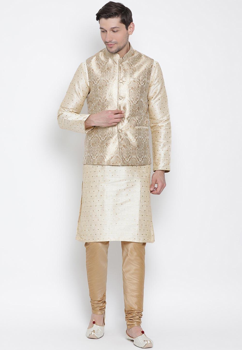 Designer Kurta Pajama Golden Colour.