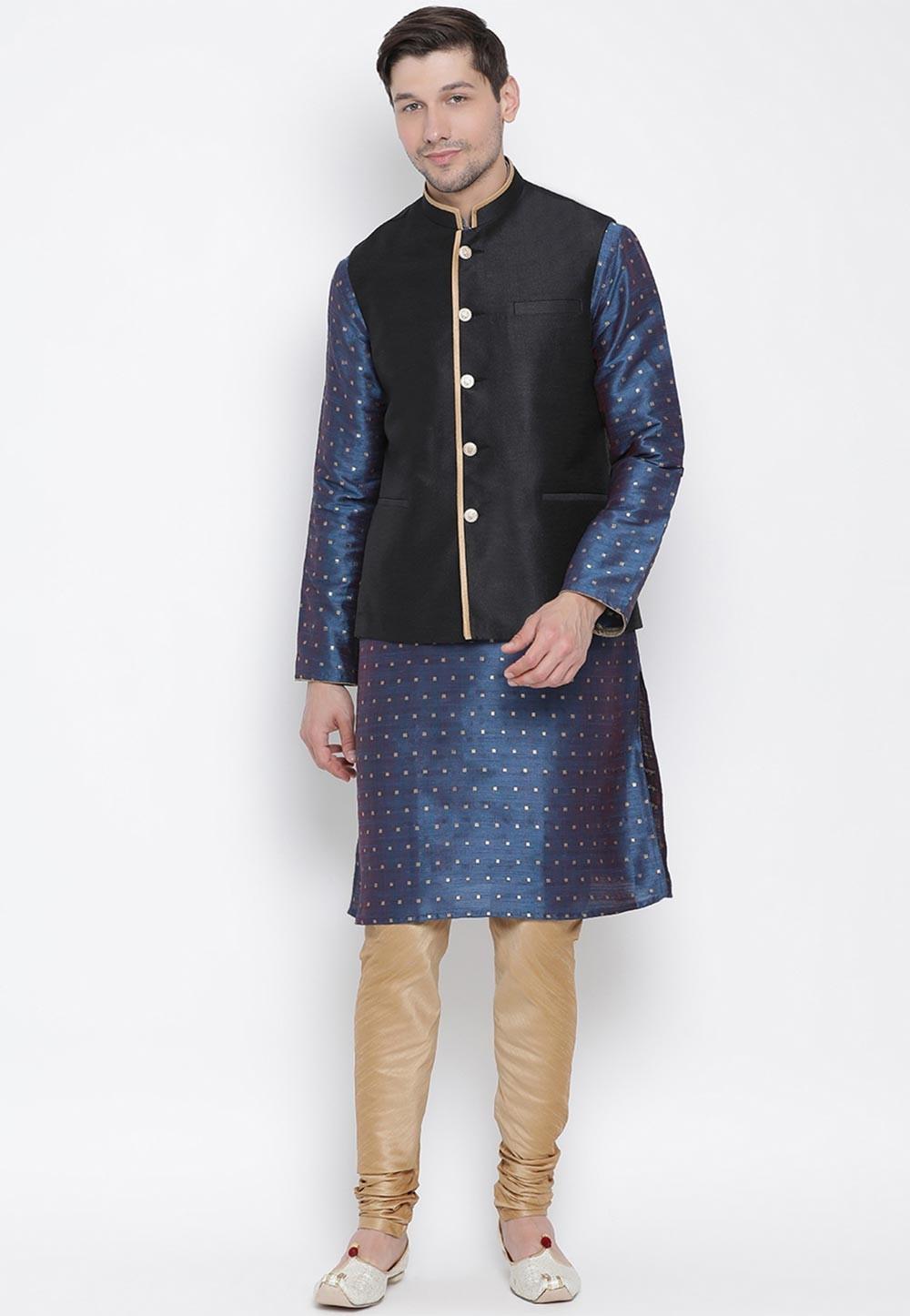 Blue,Black Colour Cotton Silk Kurta Pajama.