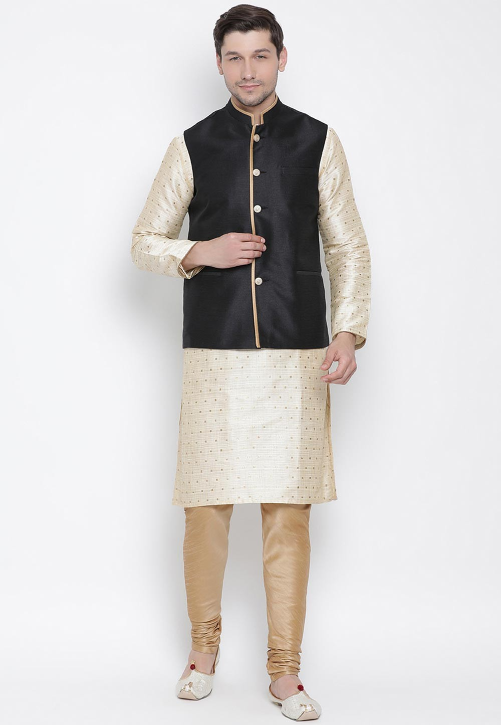 Golden,Black Readymade Kurta Pajama Jacket.