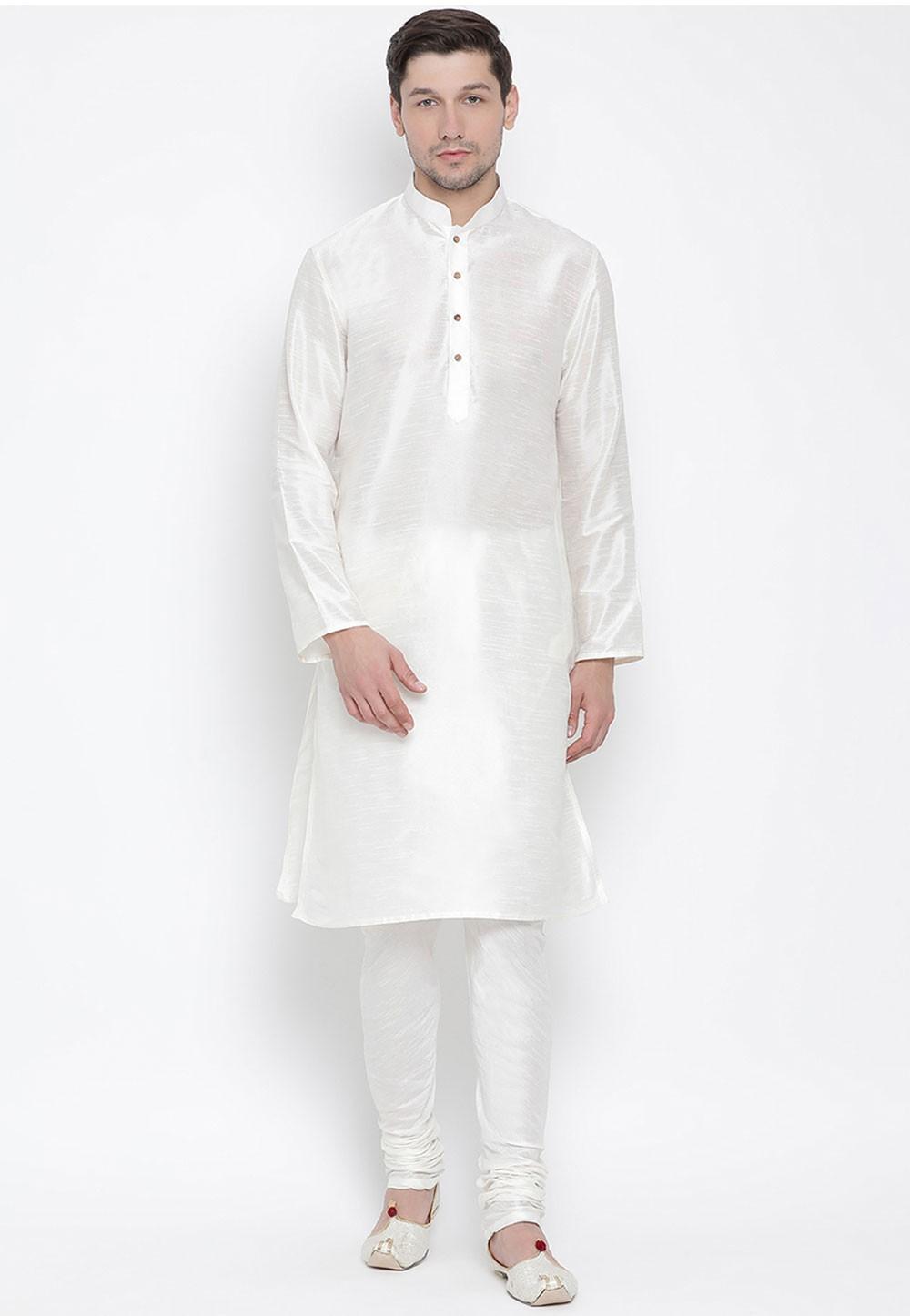 White Colour Regular Wear Kurta Pajama.