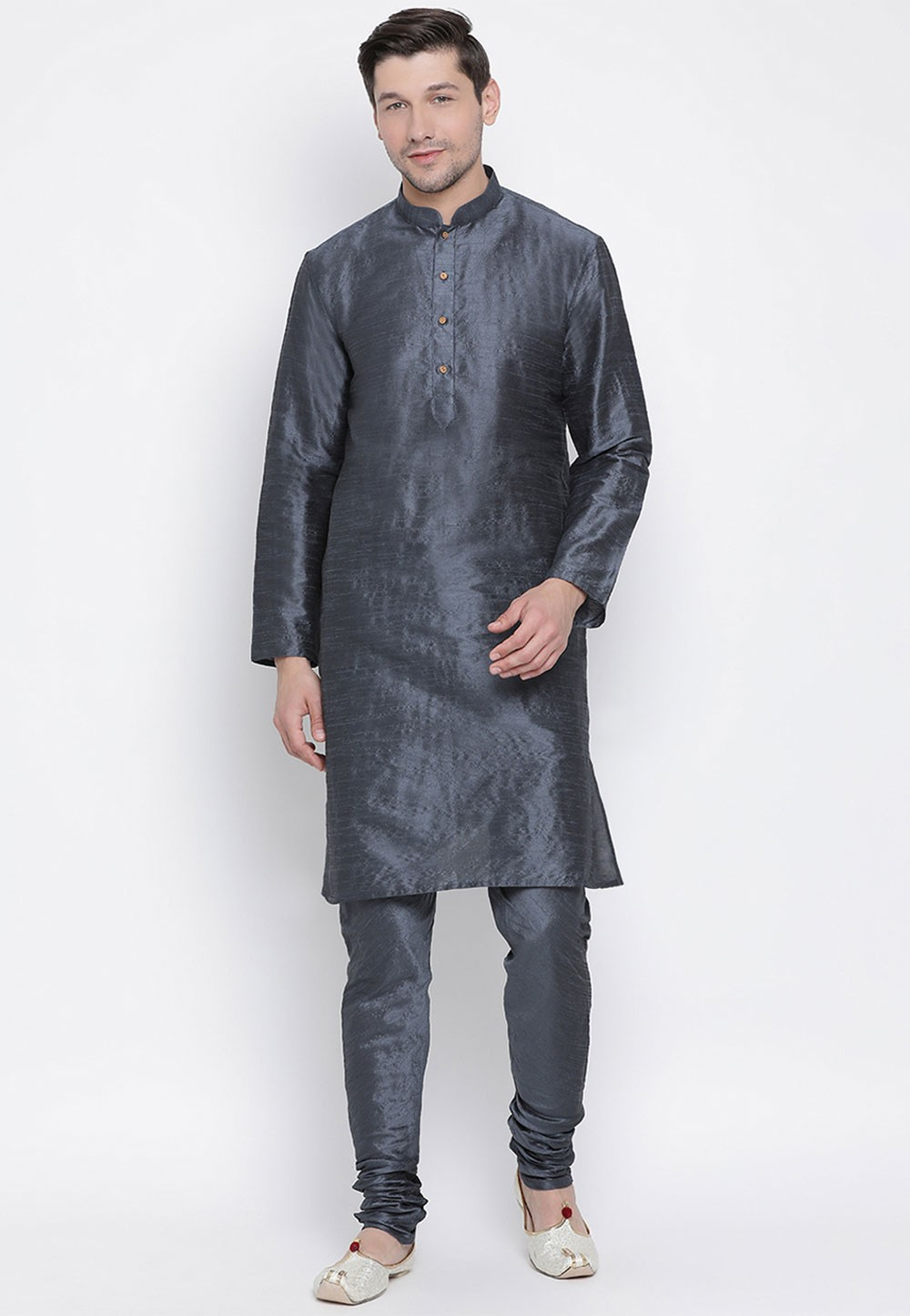 Slate Grey Colour Men's Kurta Pajama.