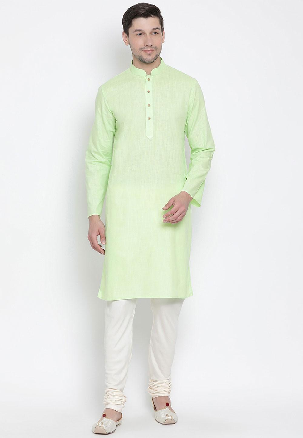 Mint Green Color Cotton Regular Kurta Pyjama.