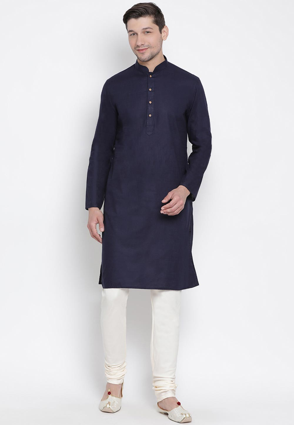 Navy Blue Colour Men's Kurta Pyjama.