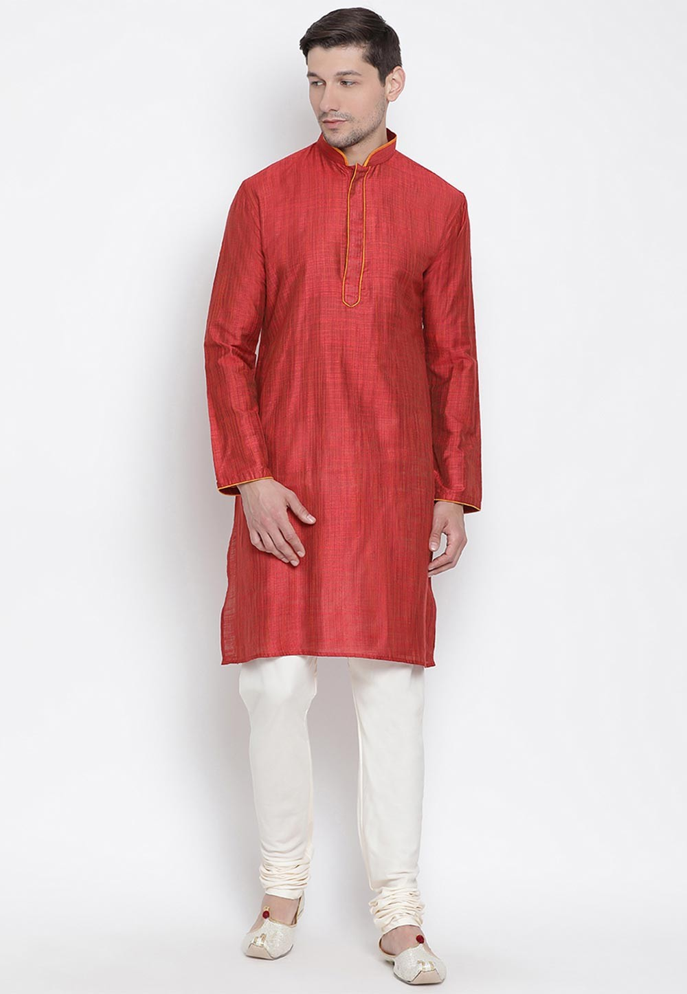 Maroon Colour Cotton Designer Kurta Pyjama.