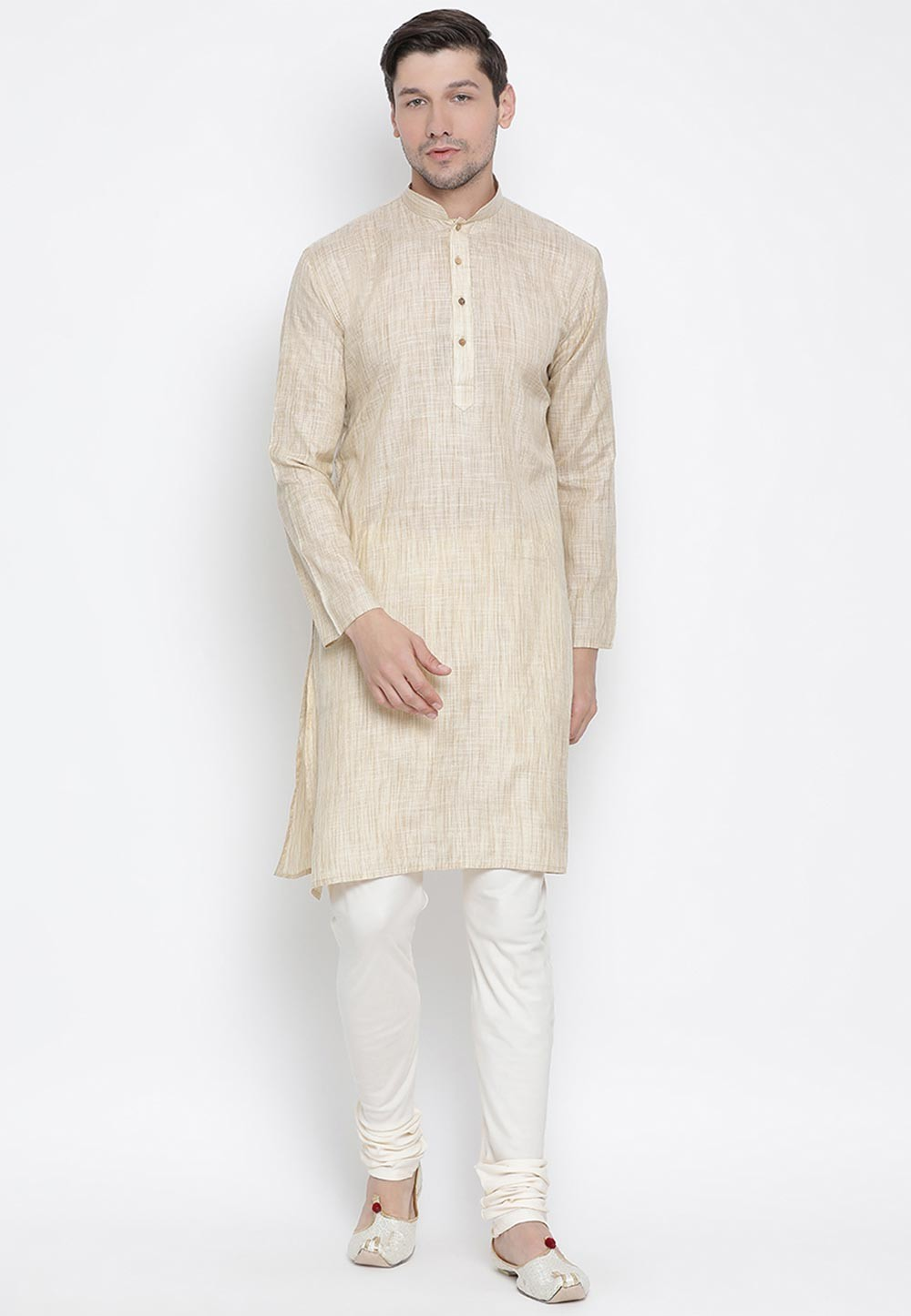 Beige Colour Cotton Silk Men's Wear Kurta Pyjama.