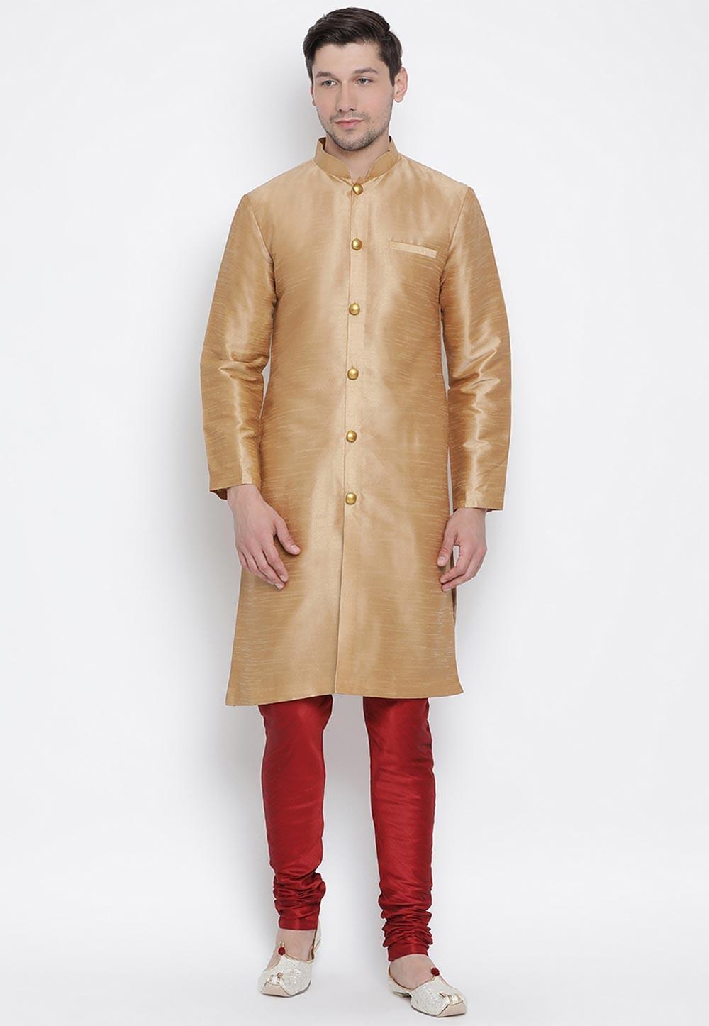 Rose Gold Colour Traditional Kurta Pyjama.