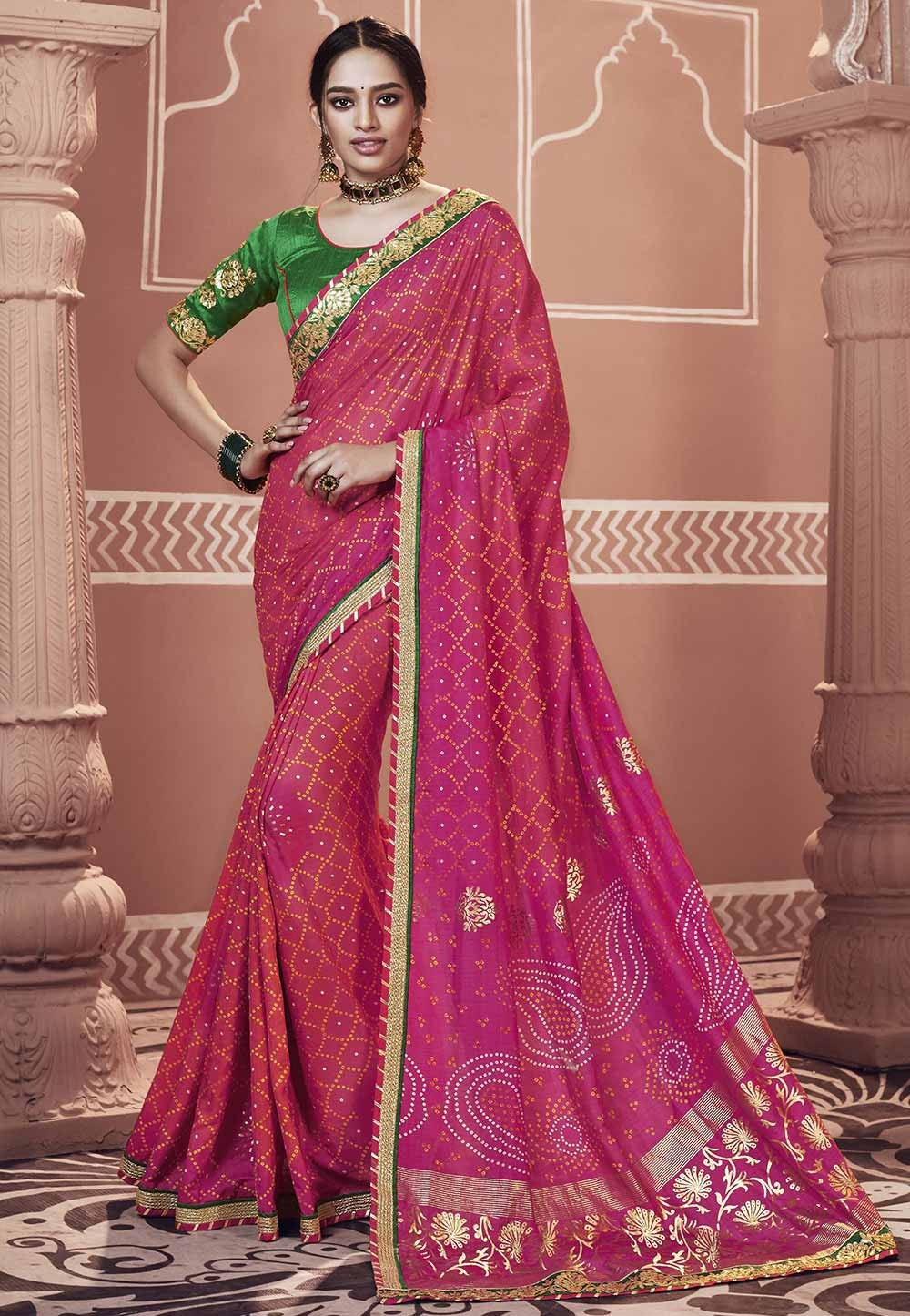 Pink Color Georgette Party Wear Sari.