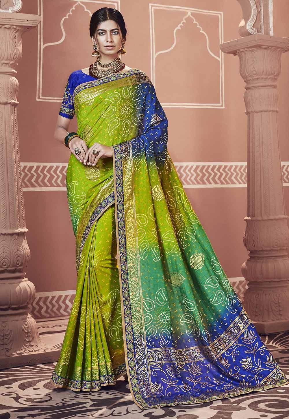 Green,Blue Color Indian Saree.