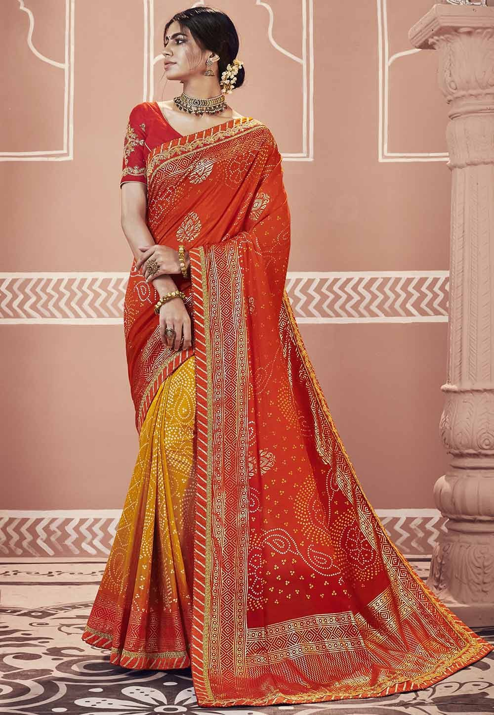 Red,Yellow Color Designer Saree.