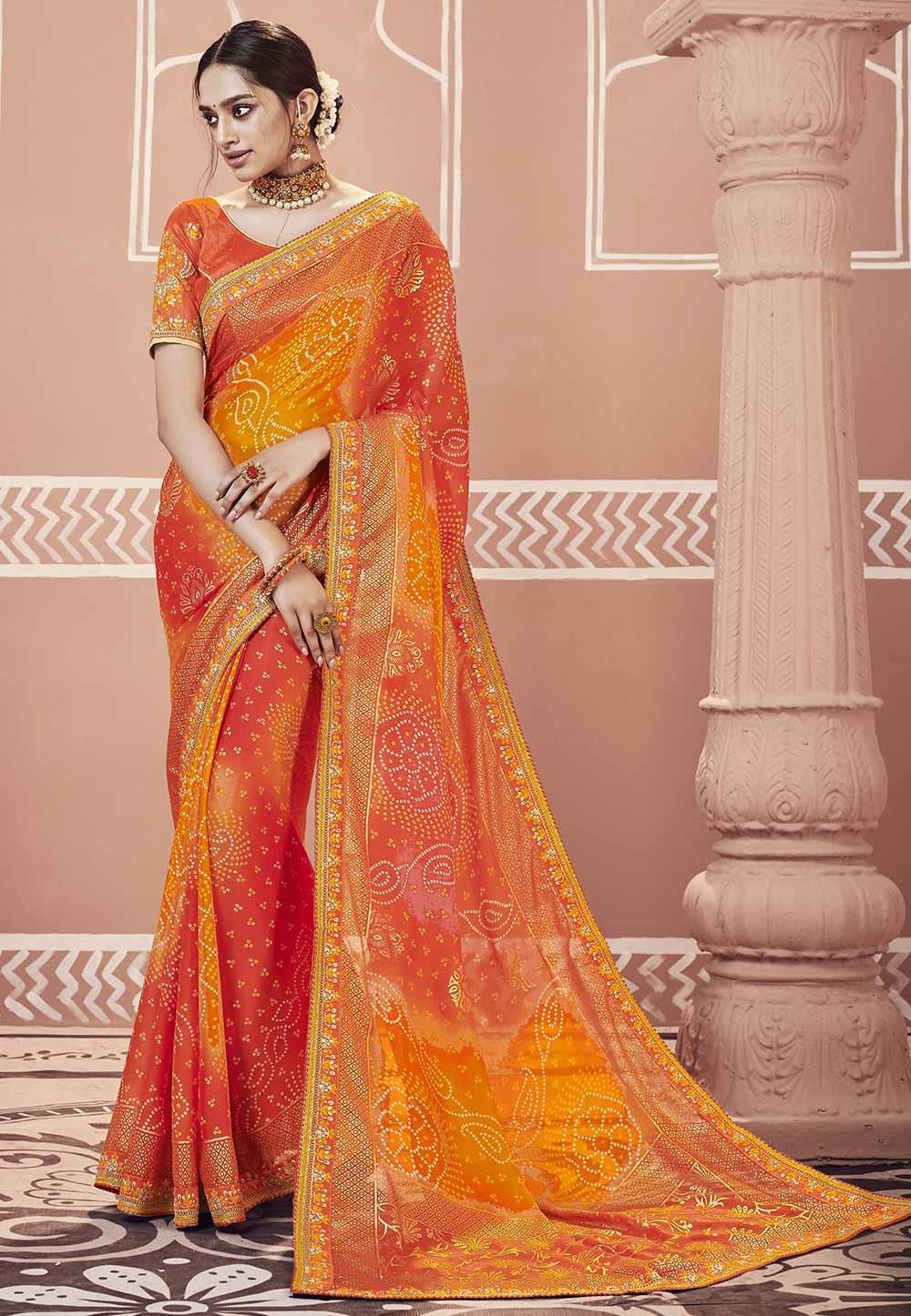 Orange Colour Georgette Indian Traditional Sari.