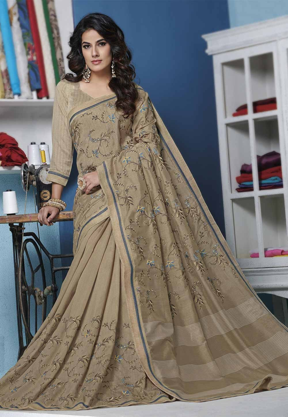 Beige Color Silk Saree.