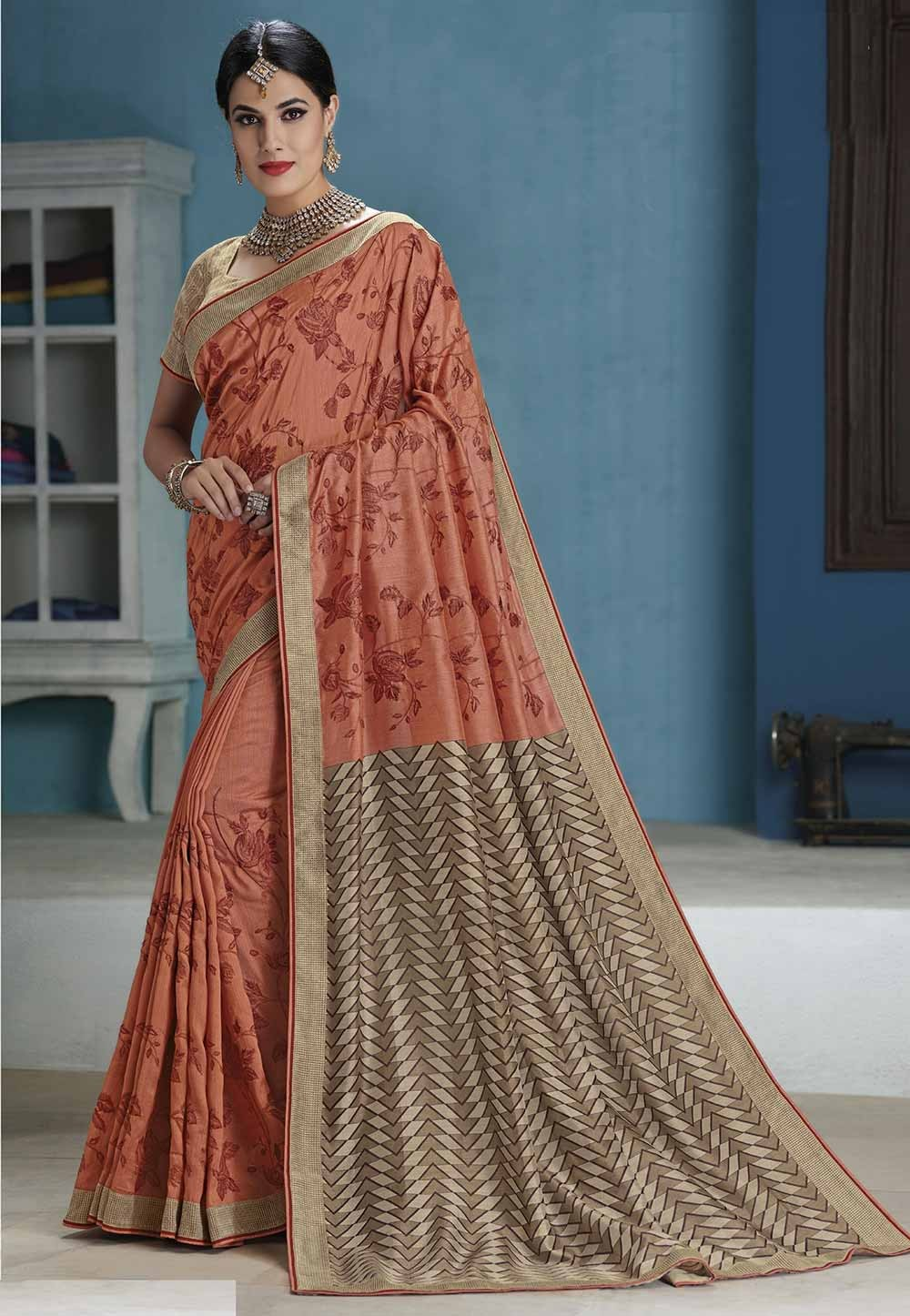 Orange Color Indian Sari.