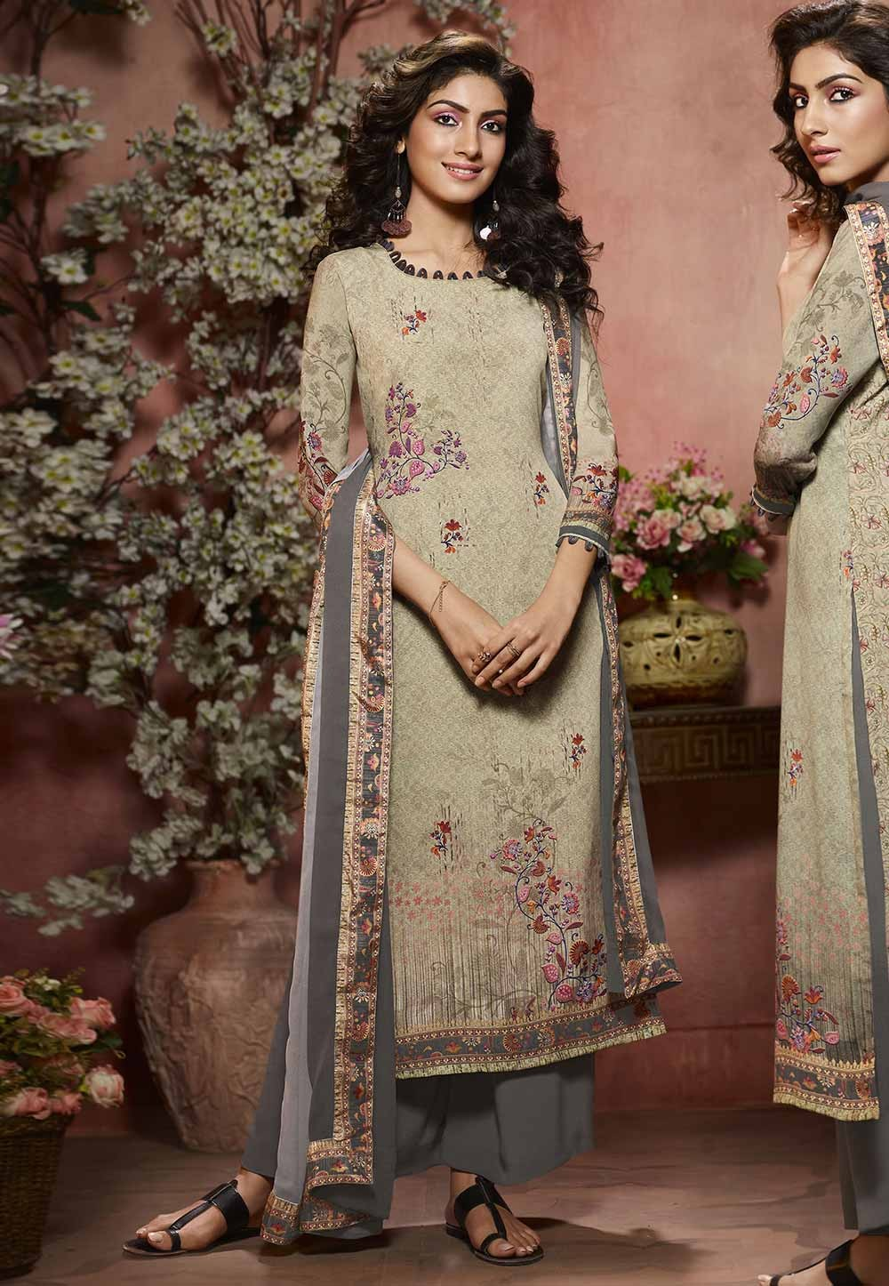 Beige Color Crepe Palazzo Salwar Suit.
