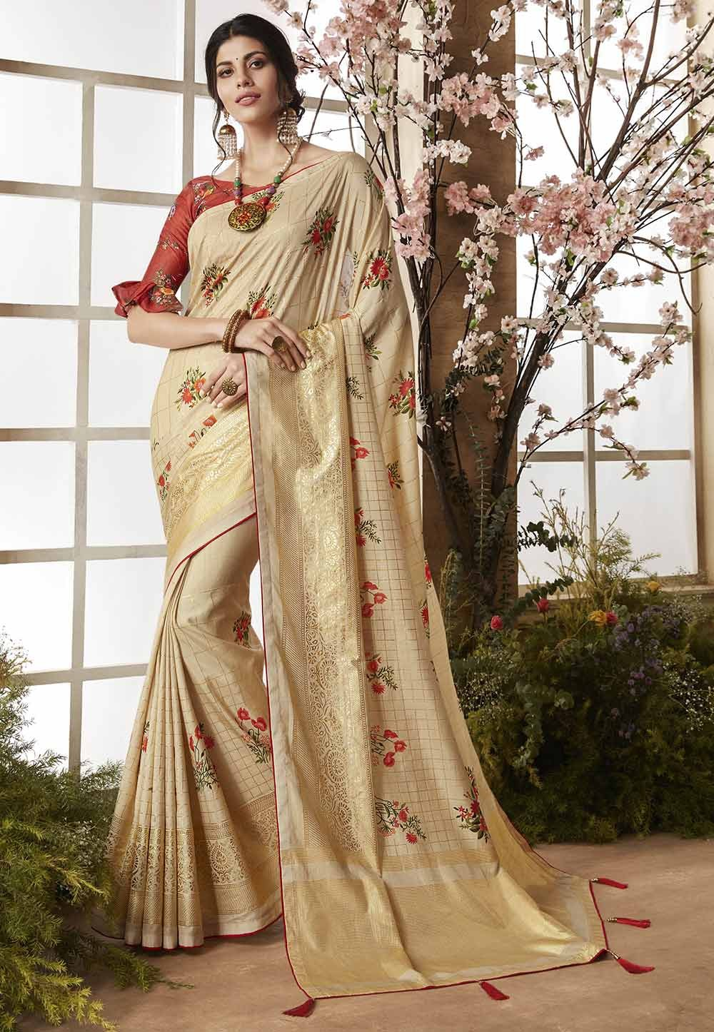 Beige Color Indian Designer Saree.