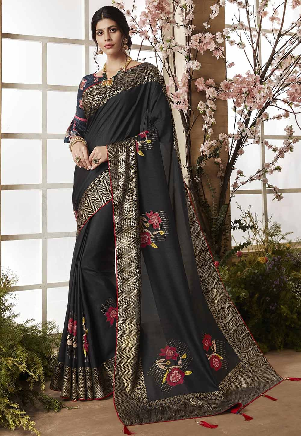 Black Color Casual Saree.