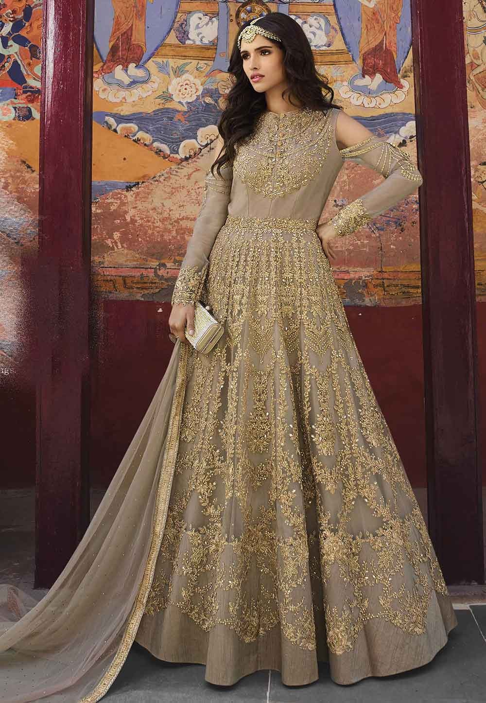 Beige Color Engagement Salwar Suit.